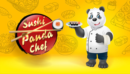 Panda sushi chef. Vector clip art illustration.
