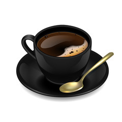 Black cup of coffee. Vector clip art illustration.