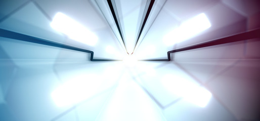 3D Rendering Of Abstract Sci-fi Technology Tunnel With Bright Lights