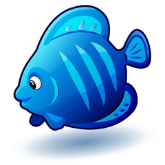 Cute cartoon small fish. Vector clip art illustration with simple gradients.