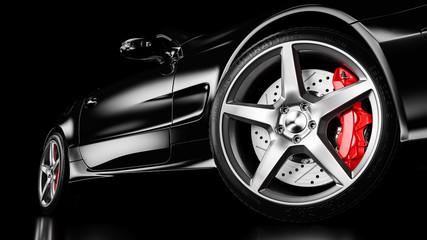 Black luxury car in studio lighting. 3d Wall mural