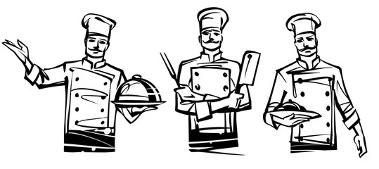 A set of illustrations by professional chefs on the belt. Hand drawn illustration.