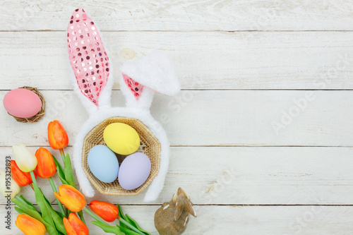 Top View Aerial Image Of Decoration Symbol Happy Easter Holiday
