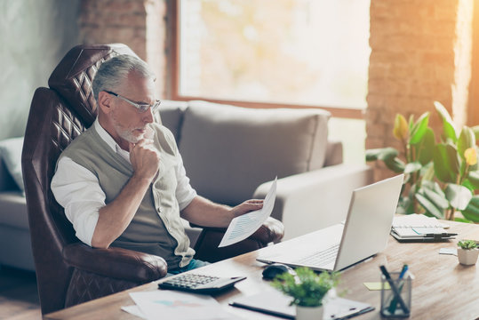 Plan profit paper cost debt credit bill success tax people armchair chair freelance company owner concept. Side profile view photo of serious pensive analyzing minded economist holding graphs in hand