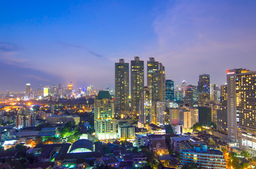 Keuken foto achterwand Sydney Bangkok city sunset and light in inght time, Bangkok, Thailand