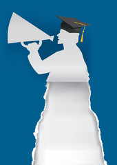 Graduate with megaphone. Illustration of paper silhouette with megaphone and mortarboard. Template for announcement of graduations.Vector available.