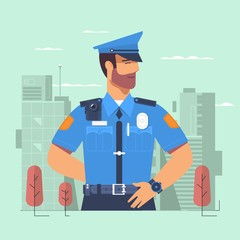 Police officer, man of police force, standing full face in uniform of policeman