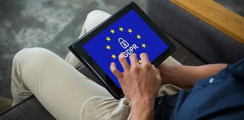Composite image of european union locked