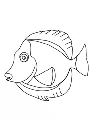 tropical blue fish  cartoon drawing