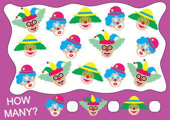 Count how many clowns. Educational game.