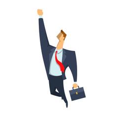Flying businessman, superhero. Business concept vector illustration, isolated on white background.