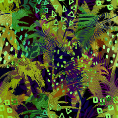 Colourful trendy seamless exotic pattern with palm, tropical plants and hand drawn textures. Modern abstract design for paper, wallpaper, cover, fabric and other users. Vector illustration.