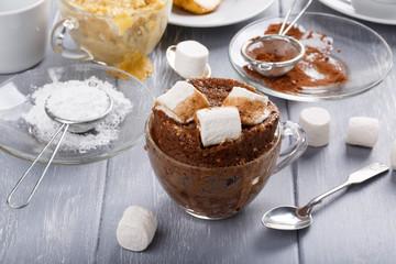 Quick chocolate mug cake with marshmallow
