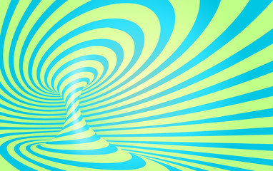 Blue and mint colors stripes swirl - vector optical illusion