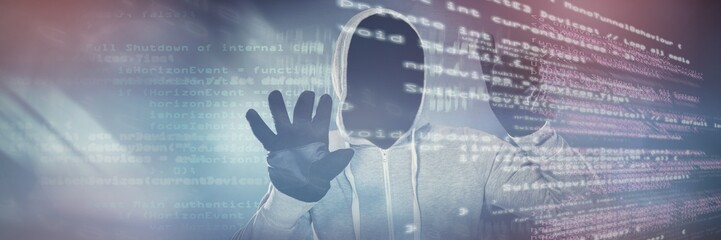 Composite image of robber with hood and gloves