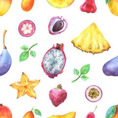 Hand painted seamless exotic pattern with watercolor  mango, pineapple,  chompu, carambola, pitaya, lychee, passiflora edulis, kumquat, mangosteen, akebia quinata isolated on white background