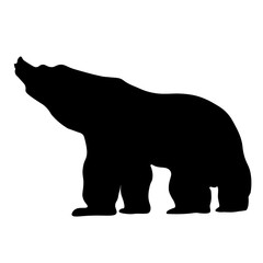 Black silhouette of a big strong bear