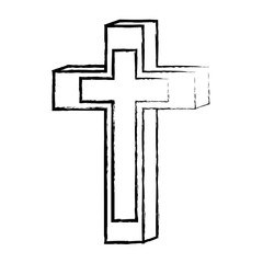 sketch of Religious Cross icon over white background, vector illustration