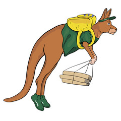 kangaroo jumps with a backpack