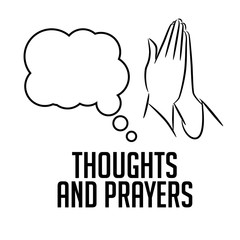 Thoughts and prayers design with thought bubble and praying hands. EPS10 vector illustration.