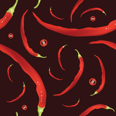 Fresh Cayenne peppers seamless pattern. Hot spicy red peppers on black. EPS10 vector illustration.
