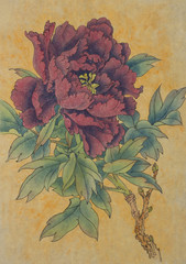 red peony on a gold background