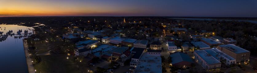 Aerial panorama of small town of Beaufort, South Carolina after sunset.