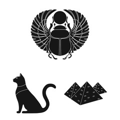 Ancient Egypt black icons in set collection for design. The reign of Pharaoh vector symbol stock web illustration.