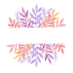 Hand drawn watercolor illustration. Botanical label with violet branches and leaves. Save the Date. Floral Design elements. Perfect for invitations, greeting cards, prints, packing etc