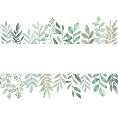 Hand drawn watercolor illustration. Botanical seamless background of green branches and leaves. Hello Spring. Floral Design elements. Perfect for invitations, greeting cards, prints, packing etc