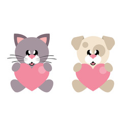 cartoon cute dog and cat with heart