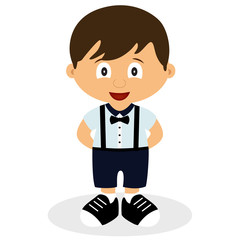 A boy in a suit. Romper suit. Children's tuxedo.