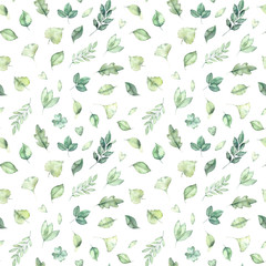 Spring watercolor seamless pattern. Botanical background with green leaves, branches and herbs. Perfect for wedding invitations, textiles, fabric, prints, packing etc