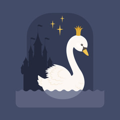 White swan with in a crown