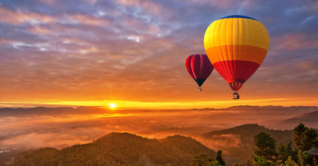 Colorful hot-air balloons flying over misty morning sunrise at Chiang Mai, Thailand.. Wall mural