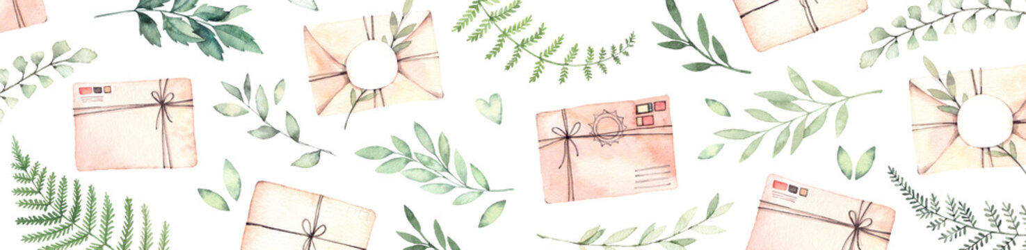 Hand drawn watercolor banner. Background with Parcels, green branches and herbs. Floral Design elements. Perfect for websites, cards, posters, packing