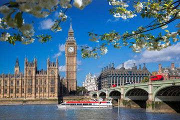Fototapete - Big Ben with boat during spring time in London, England, UK