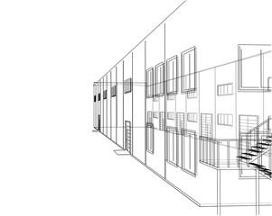 Concept of building. Vector rendering of 3d