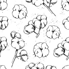 Hand drawn vector seamless pattern - Background with cotton. Illustration in sketch style. Perfect for packing, labels, prints, posters etc
