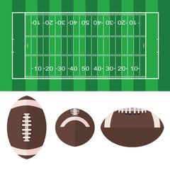 American football  field and ball American football symbol illustration