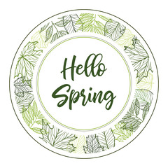 Hand drawn vector illustration. Spring label with green leaves, herbs and branches. Floral Design elements. Perfect for wedding invitations, greeting cards, blogs, posters and more