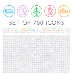 Set of 700 Minimal Universal Isolated Modern Elegant Thin Line Icons on Circular Buttons on White Background . Isolated Vector Elements