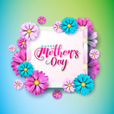 happy mothers day greeting card with flower on pink background