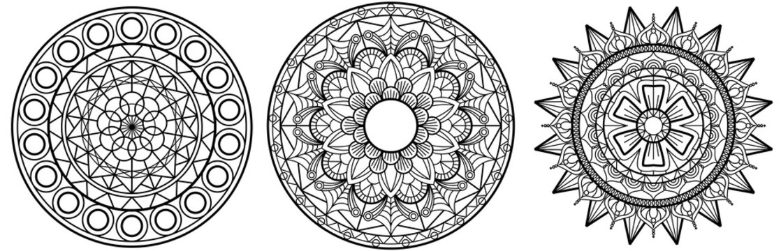 set of Mandala Vector Mandal  floral mandala  flower  coloring  book page template template high detail illustration