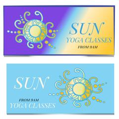 Vintage business card. Round Ornament Pattern. Vintage decorative elements. Hand drawn background. Islam, Arabic, Indian, ottoman motifs. Yoga Sun classes
