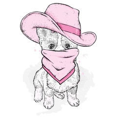 A dog in a cowboy hat and scarf. Purebred puppy in clothes and accessories. Vector illustration for a postcard or a poster. Corgi.