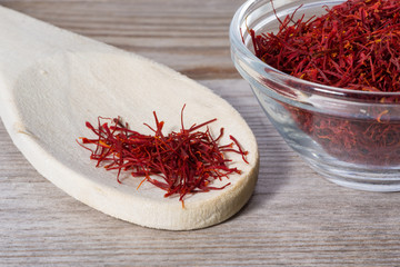 Close up on spoon with red saffron