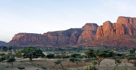 Landscape in Tigray province at sunrise dusk, Ethiopia