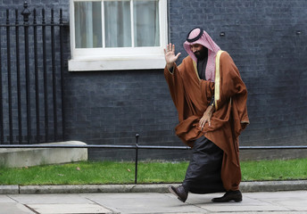 Crown Prince of Saudi Arabia Mohammad bin Salman arrives to meet Britain's Prime Minister Theresa May in Downing Street in London