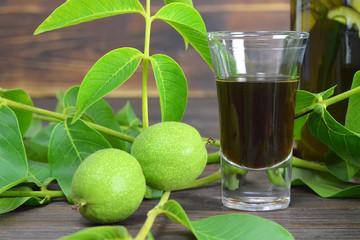 Green walnut liqueur Nocino